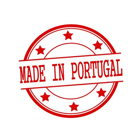 made in portugal: Made in Portugal red stamp text on red circle on a white background and star Stock Photo