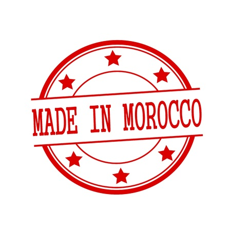 made in morocco: Made in Morocco red stamp text on red circle on a white background and star Stock Photo