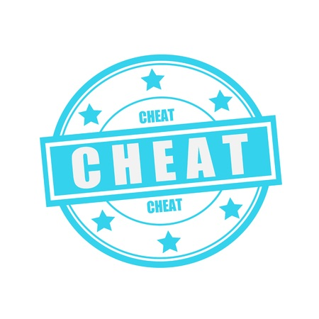 cheat: Cheat white stamp text on circle on blue background and star