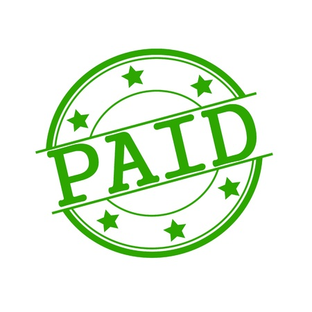 paid stamp: PAID stamp text on green circle on a white background and star Stock Photo