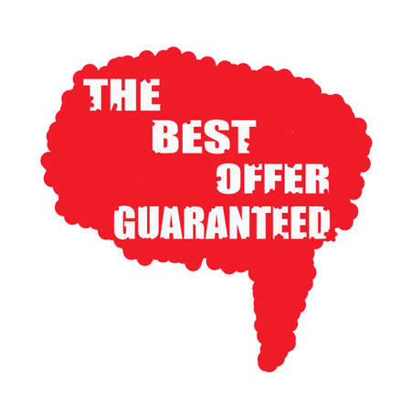 mucky: the best offer guaranteed white stamp text on blood drops red Speech bubbles Stock Photo