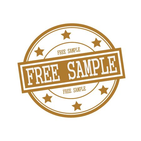 free sample: Free sample white stamp text on circle on brown background and star Stock Photo