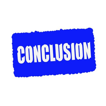 mucky: conclusion white stamp text on blood drops blue Background Stock Photo