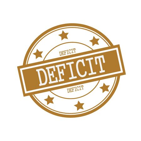 deficit: DEFICIT white stamp text on circle on brown background and star Stock Photo