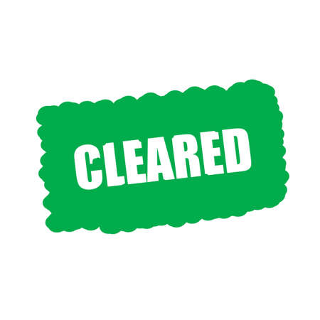 cleared: cleared white stamp text on green Background
