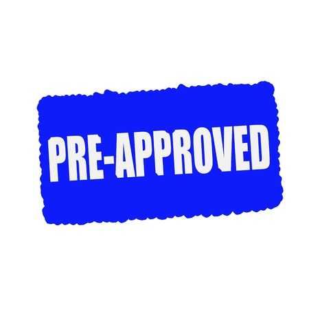 pre approved: pre approved white stamp text on blue Background