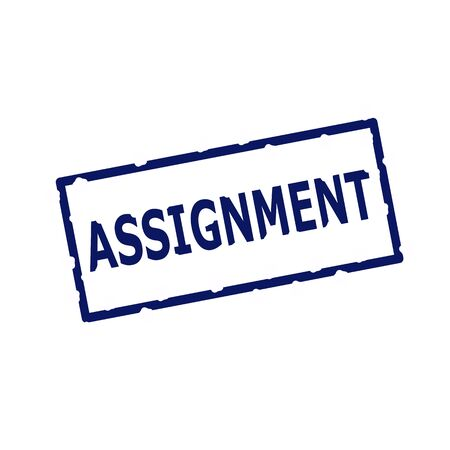 assignment: ASSIGNMENT blue stamp text on Rectangular white background