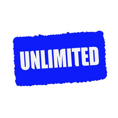 unlimited: unlimited white stamp text on blue Background