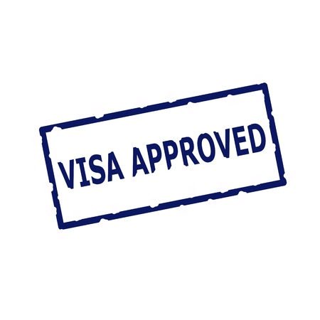 visa approved: visa approved blue stamp text on Rectangular white background Stock Photo