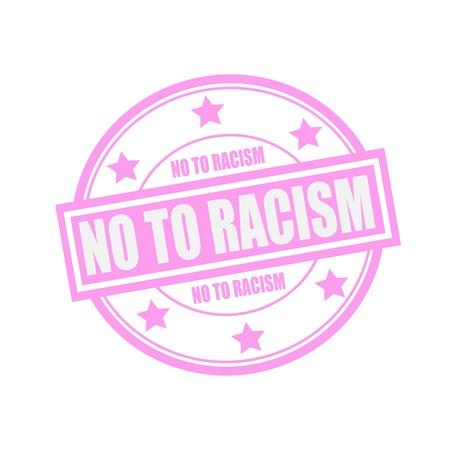 racismo: No al racismo blanco texto sello en círculo sobre fondo de color rosa y la estrella