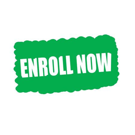 enroll: enroll now white stamp text on green Background Stock Photo