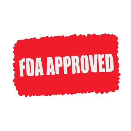 fda: FDA Approved white stamp text on blood drops red Background