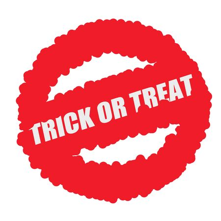 mucky: Trick or Treat white stamp text on blood drops red circle background