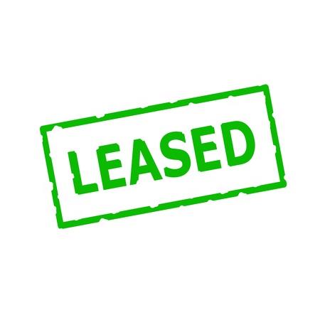 rectangular: Leased Green stamp text on Rectangular white background Stock Photo