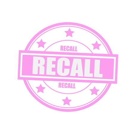 recall: Recall white stamp text on circle on pink background and star