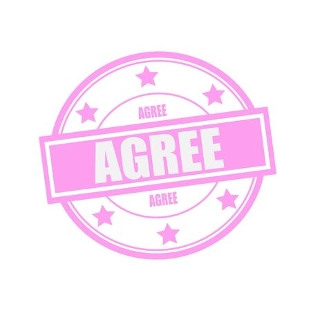 agree: Agree white stamp text on circle on pink background and star Foto de archivo
