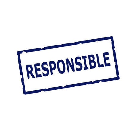 rectangular: Responsible blue stamp text on Rectangular white background