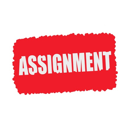 assignment: ASSIGNMENT white stamp text on blood drops red Background Stock Photo