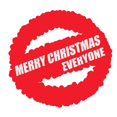 everyone: Merry Christmas everyone white stamp text on blood drops red circle background