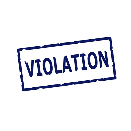 violaci�n: VIOLATION blue stamp text on Rectangular white background