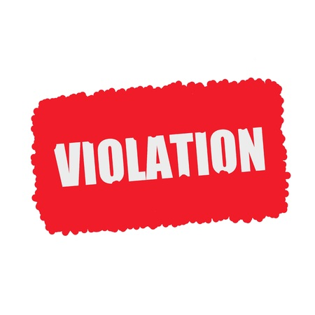 violation: VIOLACIÓn blanco texto sello en sangre cae fondo rojo Foto de archivo