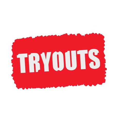 mucky: Tryouts white stamp text on blood drops red Background