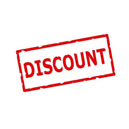 rectangular: discount red stamp text on Rectangular white background Stock Photo