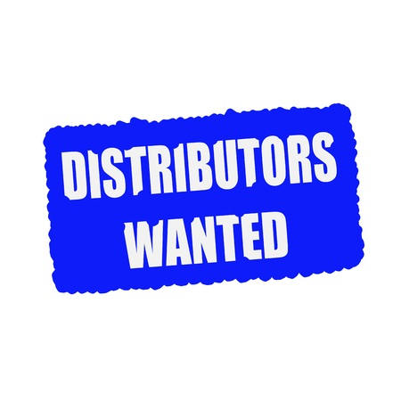 distributors wanted white stamp text on blood drops blue Background