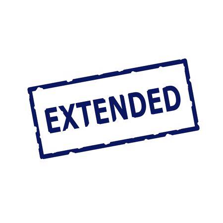 extended: EXTENDED blue stamp text on Rectangular white background