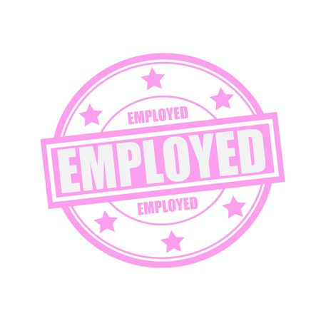 employed: Employed white stamp text on circle on pink background and star Stock Photo
