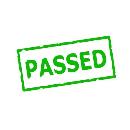 passed stamp: Passed Green stamp text on Rectangular white background
