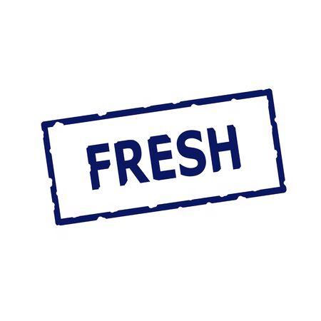 rectangular: Fresh blue stamp text on Rectangular white background