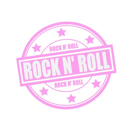 rocknroll: ROCK N ROLL white stamp text on circle on pink background and star Archivio Fotografico