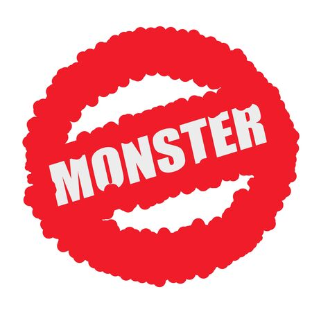 mucky: Monster white stamp text on blood drops red circle background