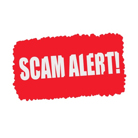 scam: SCAM alert  white stamp text on blood drops red Background