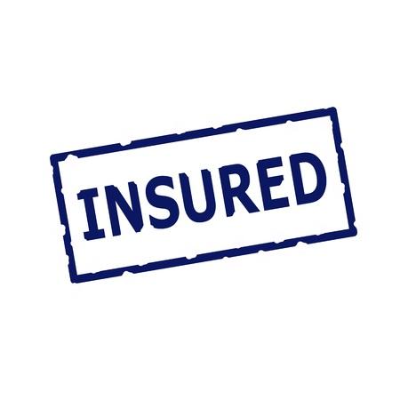 insured: Insured blue stamp text on Rectangular white background