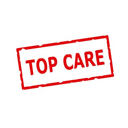 rectangular: Top Care red stamp text on Rectangular white background