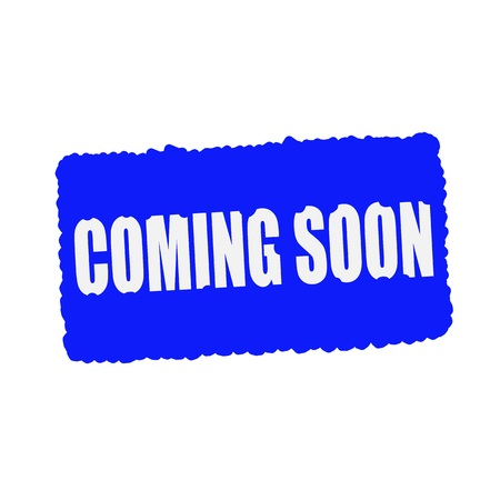mucky: coming soon white stamp text on blood drops blue Background Stock Photo