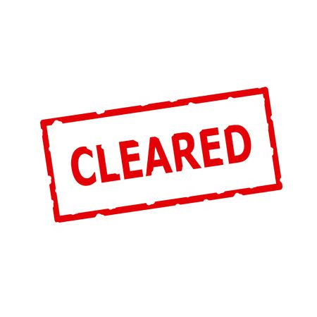 cleared: cleared red stamp text on Rectangular white background