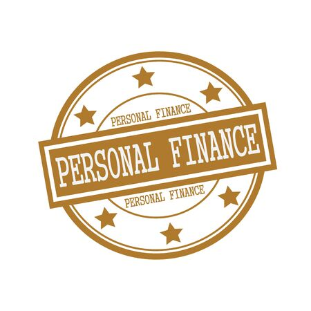 personal finance: PERSONAL FINANCE white stamp text on circle on brown background and star