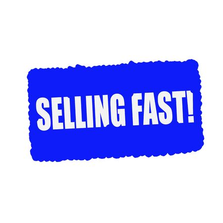selling stocks: selling fast white stamp text on blue Background