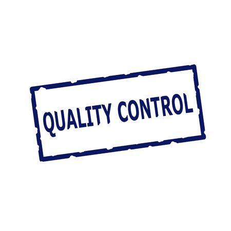 rectangular: Quality Control blue stamp text on Rectangular white background