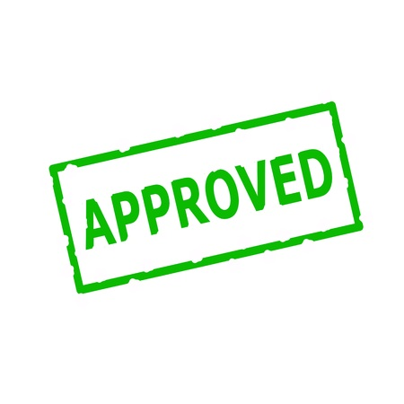 APPROVED Green stamp text on Rectangular white background