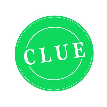 clue: Clue white stamp text on circle on green background