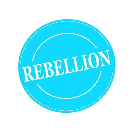 rebellion: REBELLION white stamp text on circle on blue background