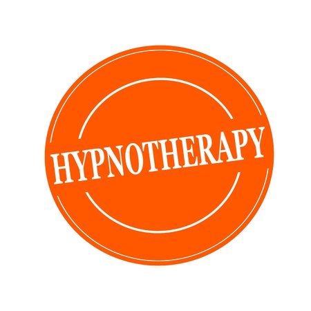 hypnotherapy: HYPNOTHERAPY white stamp text on circle on orage background