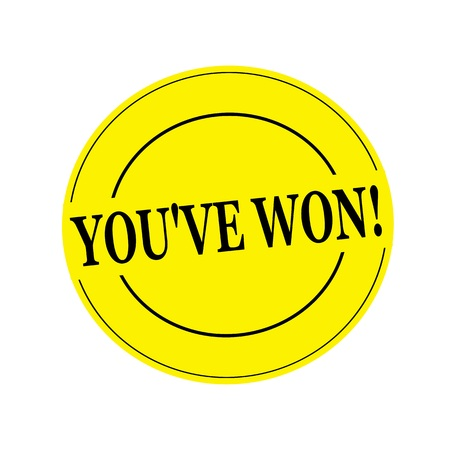 won: YOUVE WON stamp text on circle on yellow background