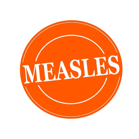 measles: MEASLES white stamp text on circle on orage background
