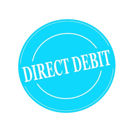 debit: direct debit white stamp text on circle on blue background