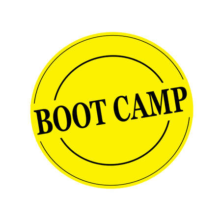 boot camp: boot camp Black stamp text on circle on yellow background